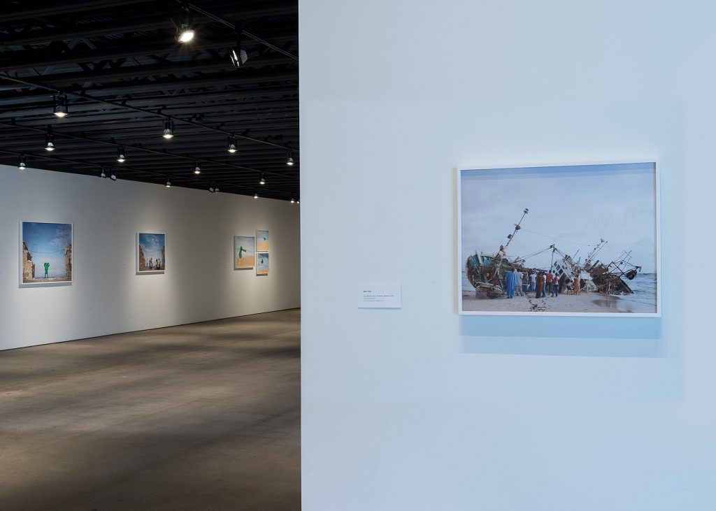Install shot of The Strangers Notebook by Dawit L. Petros. Image courtesy of the H&R Block Artspace.