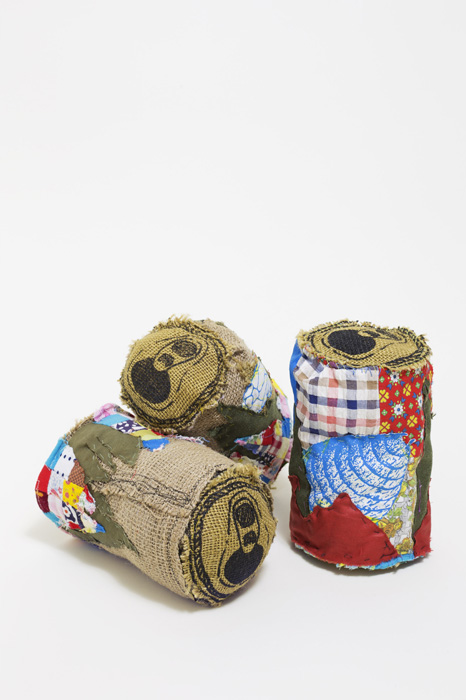 Mark Alister Raymer Burlap Beer Can Landscape (group), 2017 Textile, printmaking 12 in x 5 in x 3 in (each)