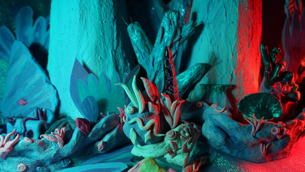 """Still from Mers Springs: Sea Floor and Reef"" 2017, Clay, Acrylic, Paper Mache, Plaster, Plasticine (animation 1:08)"
